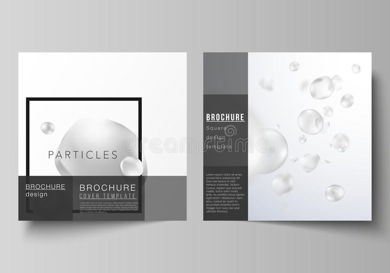 Vector layout of two square format covers design templates for brochure, flyer. Spa and healthcare design. Abstract soft vector illustration