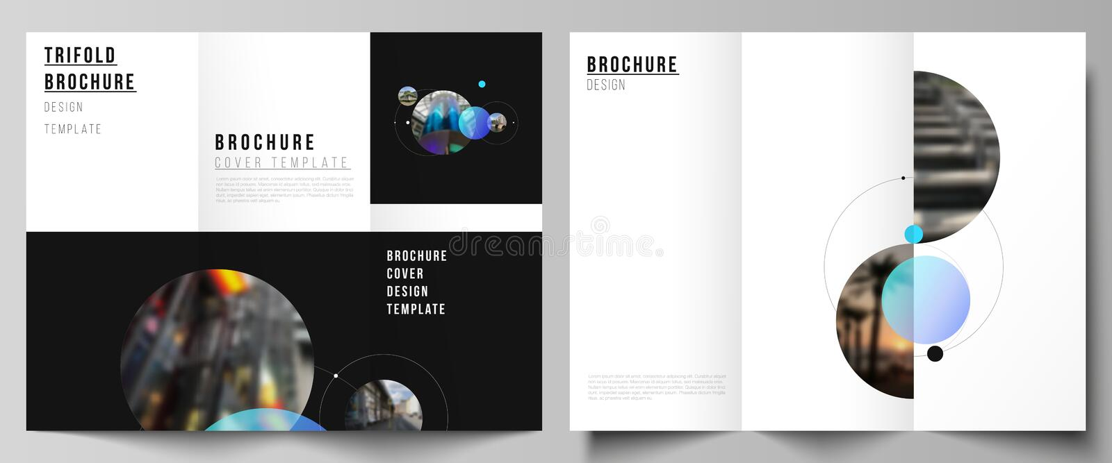 The vector layouts of creative covers design templates for trifold brochure or flyer. Simple design futuristic concept. Creative background with circles and vector illustration