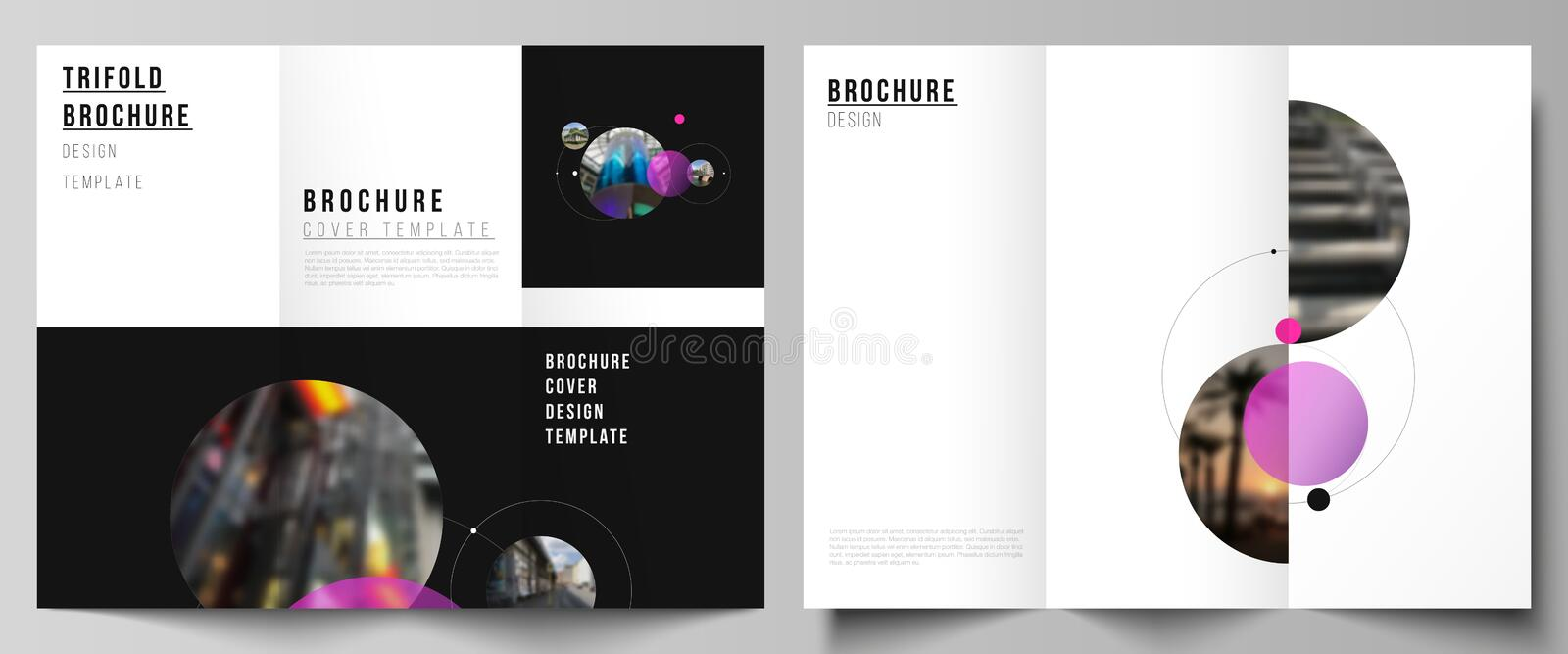 The vector layouts of creative covers design templates for trifold brochure or flyer. Simple design futuristic concept. Creative background with circles and royalty free illustration