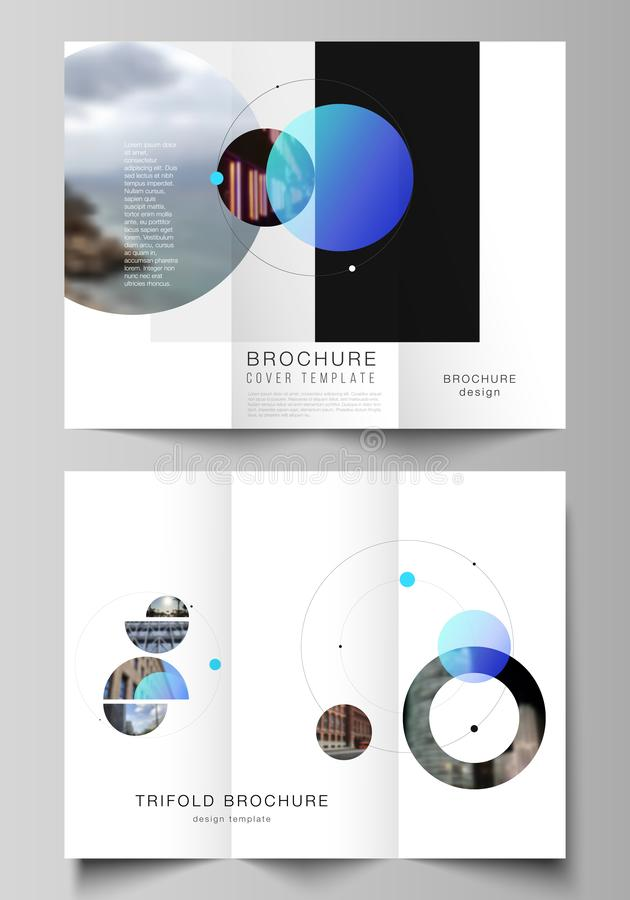 The vector layouts of creative covers design templates for trifold brochure or flyer. Simple design futuristic concept. Creative background with circles and stock illustration