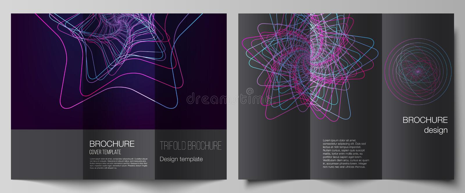 Vector layouts of modern creative covers design templates for trifold brochure or flyer. Random chaotic lines that creat. Real shapes. Chaos pattern, abstract vector illustration