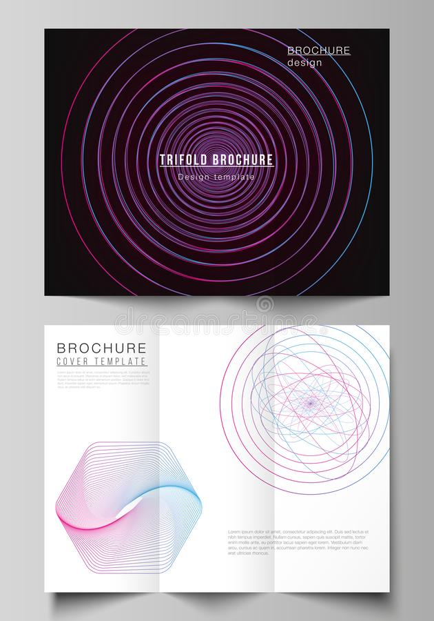Vector layouts of modern creative covers design templates for trifold brochure or flyer. Random chaotic lines that creat. Real shapes. Chaos pattern, abstract stock illustration