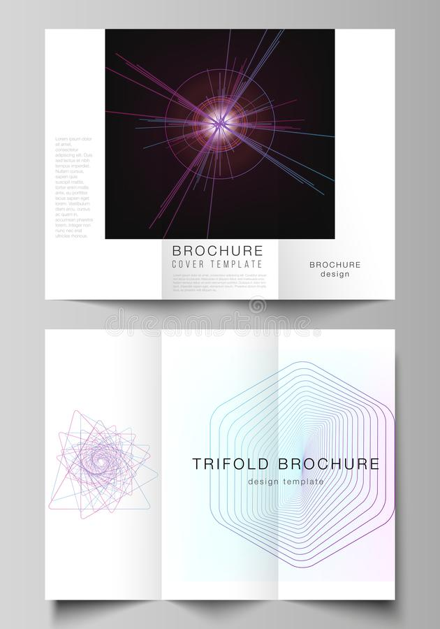 Vector layouts of modern creative covers design templates for trifold brochure or flyer. Random chaotic lines that creat. Real shapes. Chaos pattern, abstract royalty free illustration