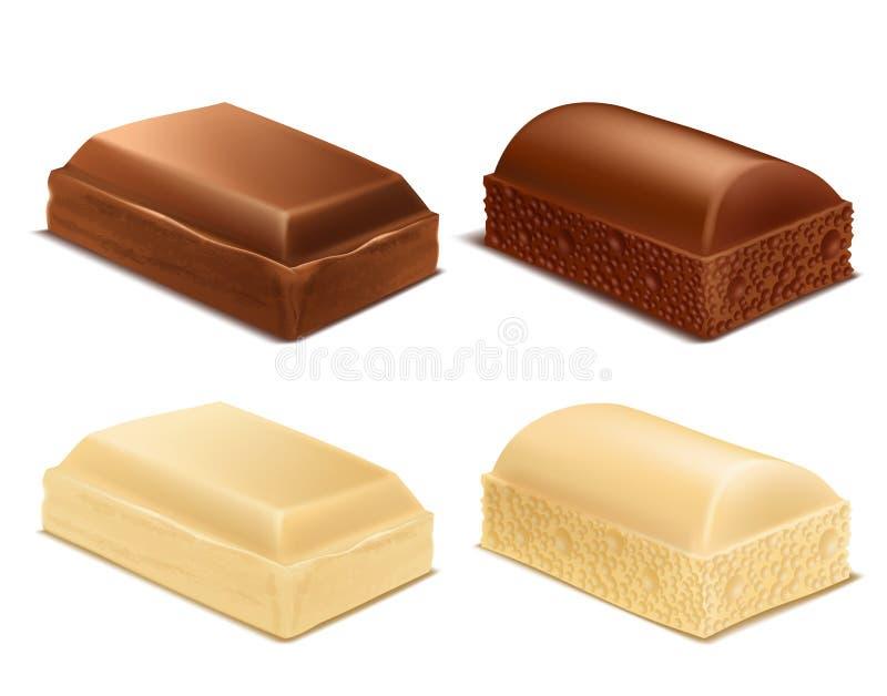 Vector le barre marroni e bianche dei pezzi del cioccolato, di latte illustrazione di stock