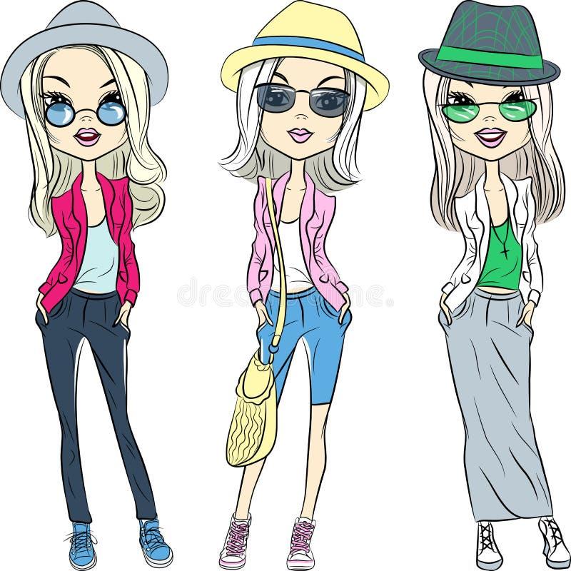 Vector le belle ragazze dei pantaloni a vita bassa di modo in cappelli e vetri illustrazione di stock