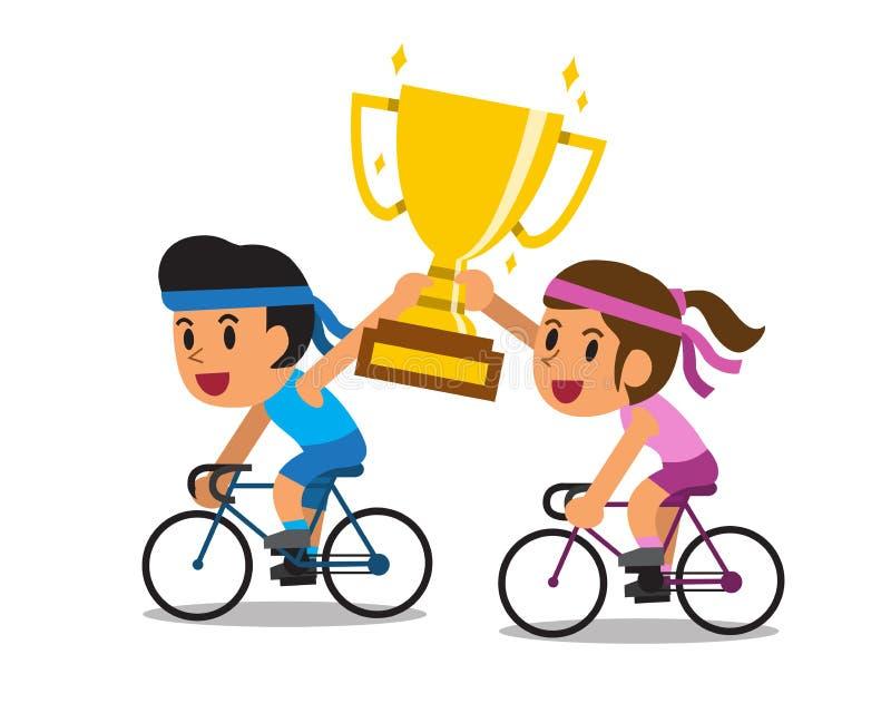 Vector le bici di guida delle coppie di sport del fumetto ed il grande premio della tazza del trofeo dell'oro della tenuta illustrazione di stock