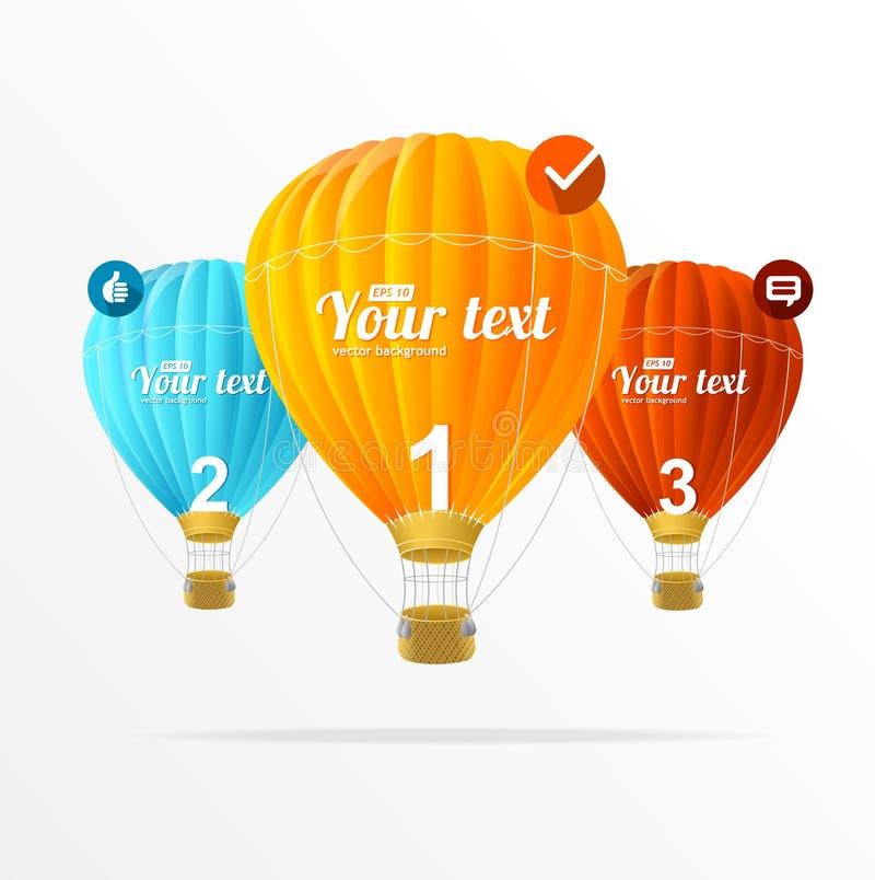 Vector le caselle di testo, il infographics e gli impulsi dell'aria illustrazione vettoriale