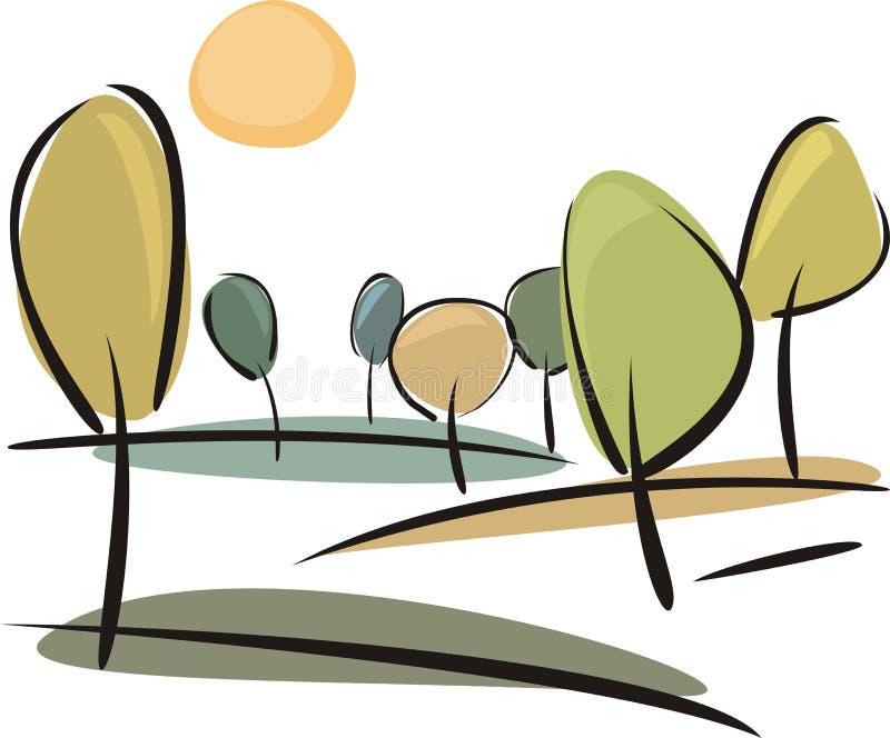 Vector le colline con gli alberi al giorno pieno di sole di autunno illustrazione vettoriale