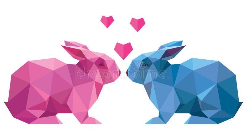 Vector le coppie di stile del coniglio degli amanti in basso poli illustrazione di stock