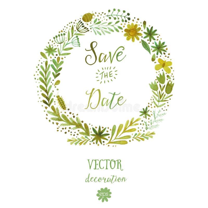 Vector le corone floreali circolari variopinte dell'acquerello con i fiori dell'estate e il copyspace bianco centrale per il vost illustrazione vettoriale