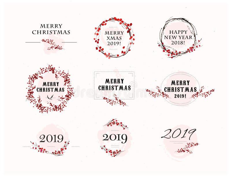 Vector le disposizioni di congratulazione di Natale con gli elementi dell'acquerello & del testo illustrazione vettoriale
