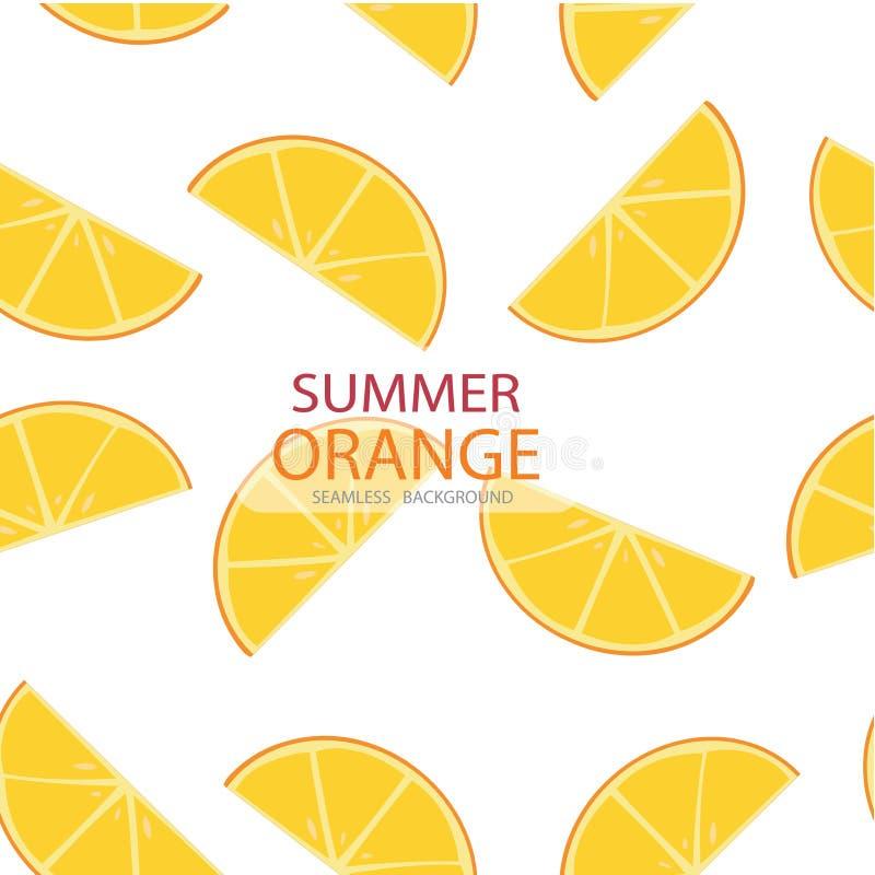 Vector le fette del triangolo di modello arancio, fondo senza cuciture illustrazione di stock