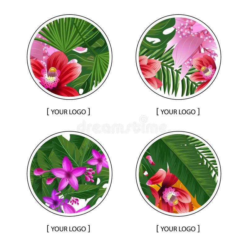 Vector le foglie di palma tropicali ed i simboli rotondi di logo degli elementi esotici del fiore royalty illustrazione gratis