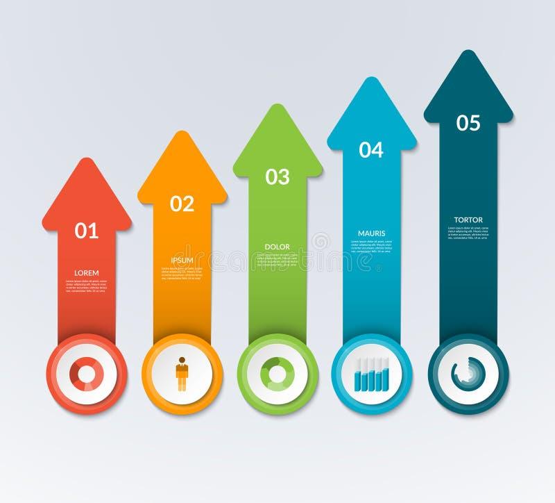 Vector le frecce che indicano su per il grafico infographic, il diagramma, grafico royalty illustrazione gratis