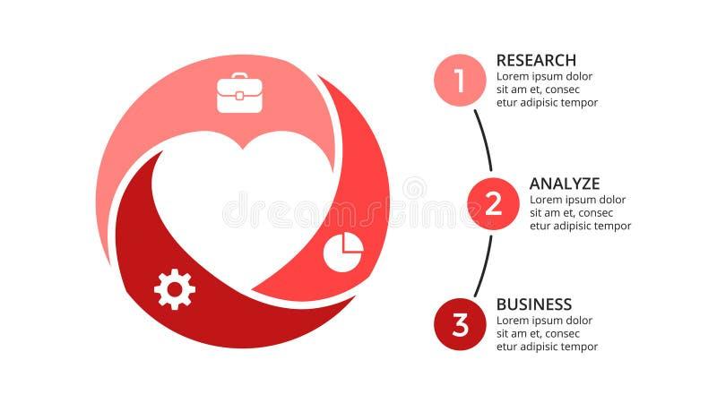 Vector le frecce infographic, il diagramma del ciclo, il grafico geometrico, grafico del cerchio della presentazione Concetto di  illustrazione vettoriale