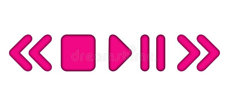 Vector le icone arrotondate rosa del lettore multimediale del gioco di pausa con ombra interna royalty illustrazione gratis