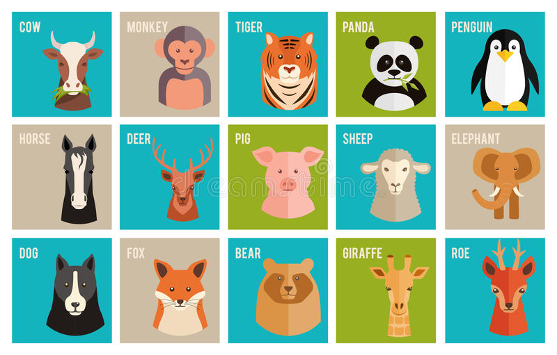 Vector le icone degli animali e degli animali domestici nello stile piano illustrazione di stock