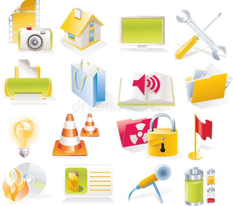 Vector le icone degli oggetti impostate. Parte 4 illustrazione di stock