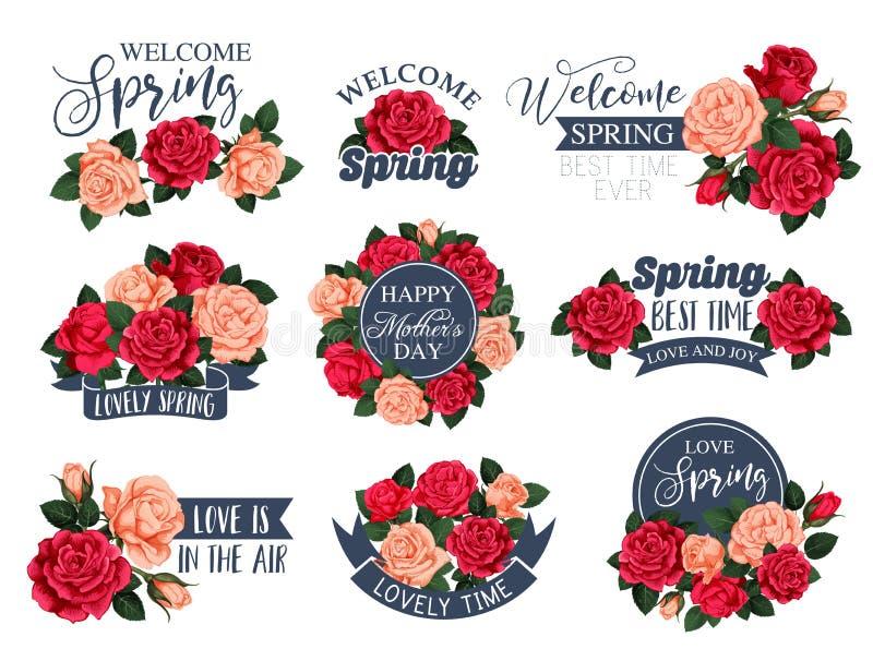 Vector le icone delle rose dei fiori per il giorno di madre della molla illustrazione vettoriale