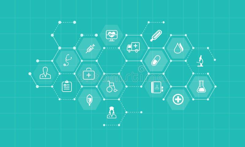 Vector le icone di salute e mediche ed il fondo della rete di affari illustrazione di stock