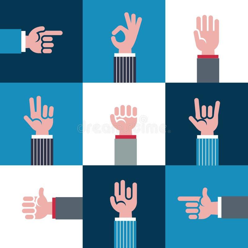 Vector le icone ed i simboli, il emoji, i gesti di mani differenti, segni dei segnali illustrazione vettoriale