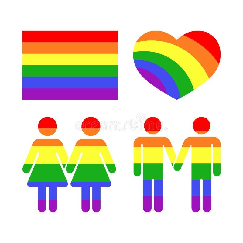 Vector le icone gay ed i simboli di diritti dell'arcobaleno LGBT illustrazione di stock