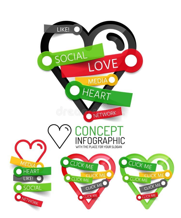 Vector le icone lineari di stile del cuore di amore, sollievo tagliato 3d con l'autoadesivo - bottone royalty illustrazione gratis