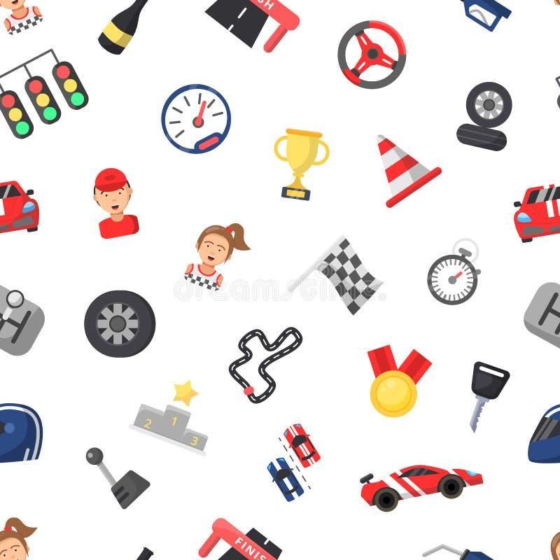 Vector le icone modello di corsa di automobile piana o l'illustrazione del fondo illustrazione vettoriale