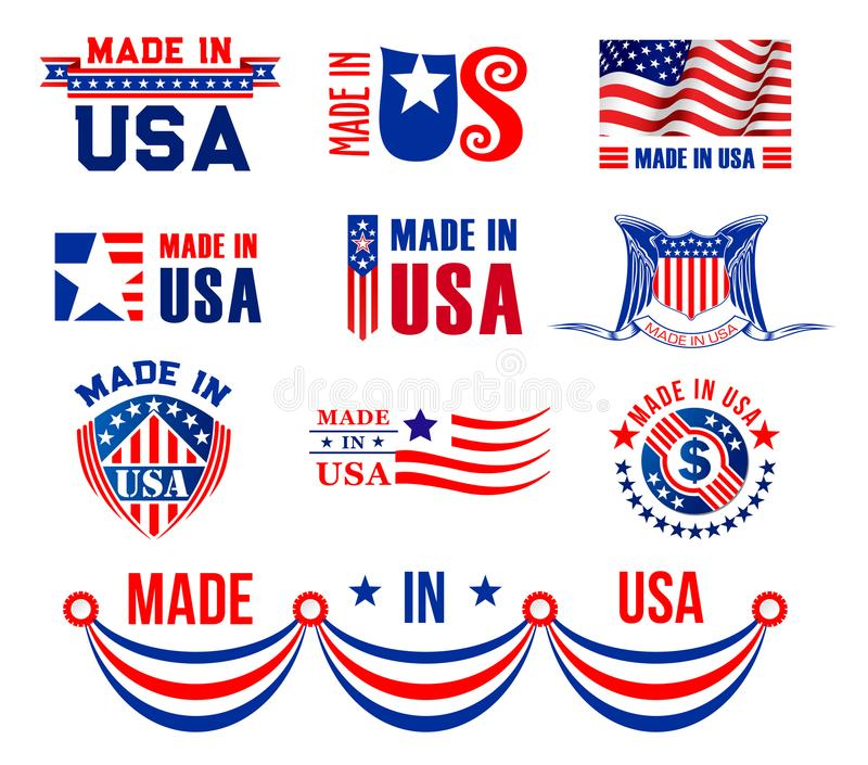 Vector le icone o i bagdes per fatto in U.S.A. illustrazione vettoriale