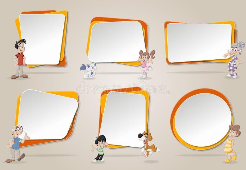 Vector le insegne/ambiti di provenienza con la famiglia felice sveglia del fumetto con gli animali domestici illustrazione di stock