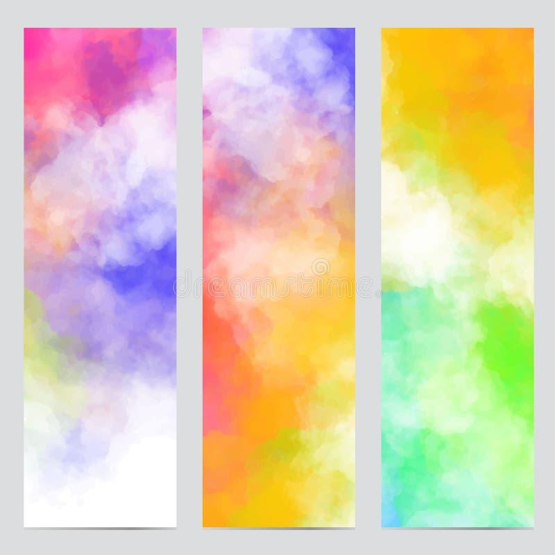 Vector le insegne astratte degli ambiti di provenienza variopinti con le nuvole variopinte, il fumo, la polvere multicolore, pitt royalty illustrazione gratis