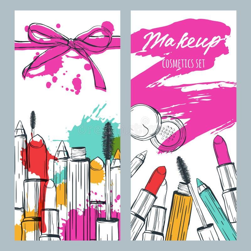 Vector le insegne con l'illustrazione di scarabocchio dei cosmetici di trucco e delle sbavature del rossetto Fondo di trucco e di illustrazione di stock