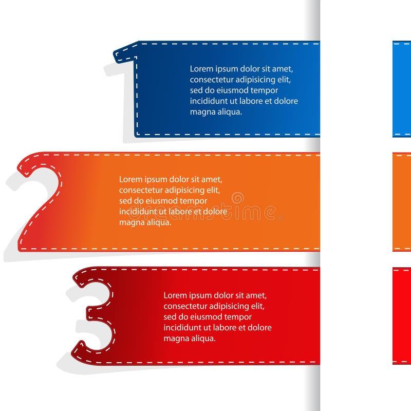 Vector le insegne di web con le opzioni di una, due, tre Navigazione di affari per il sito Web ed il app Disposizione moderna royalty illustrazione gratis