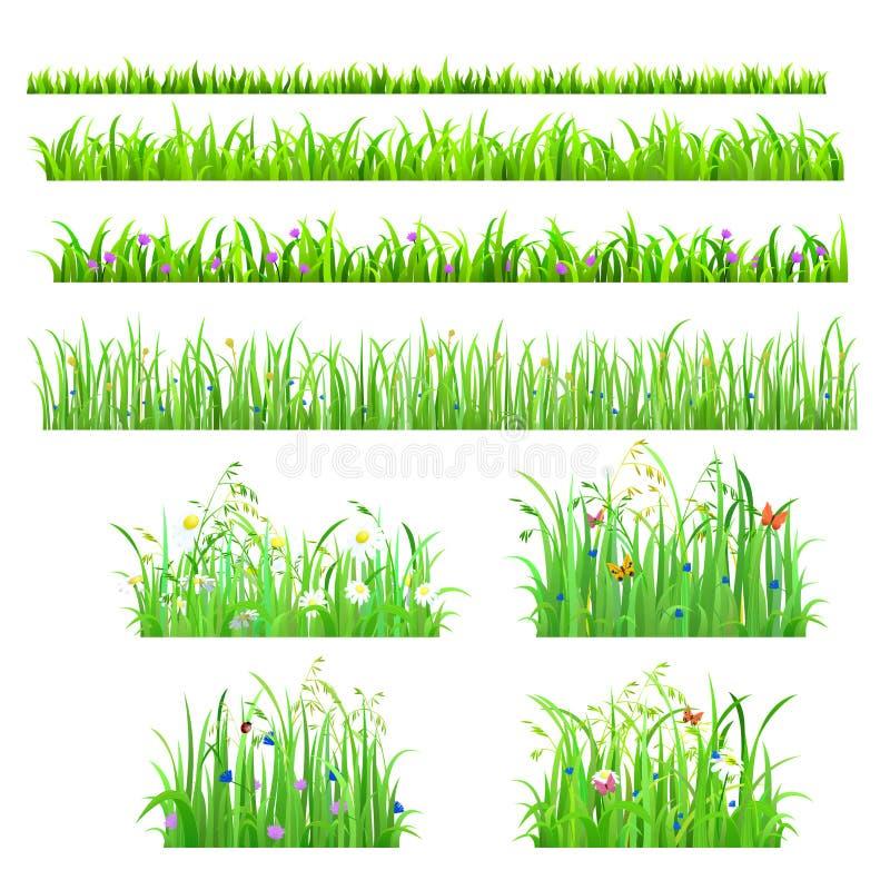Vector le linee senza cuciture dell'erba isolate piano con il fiore, farfalla illustrazione di stock