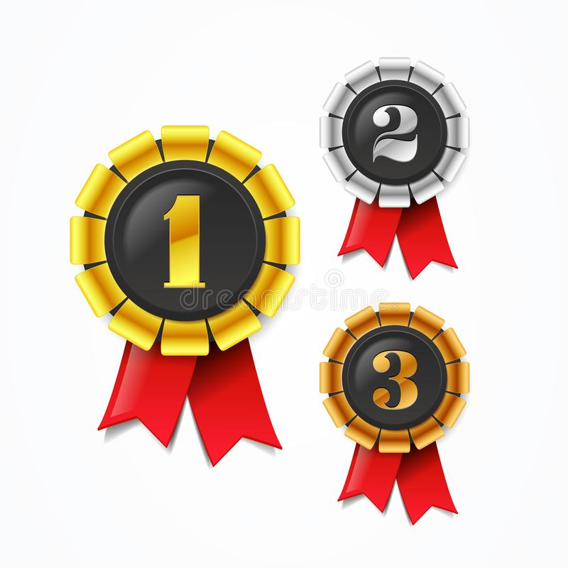 Vector le medaglie del premio dei campioni oro, dell'argento e del bronzo dell'illustrazione con il nastro rosso royalty illustrazione gratis