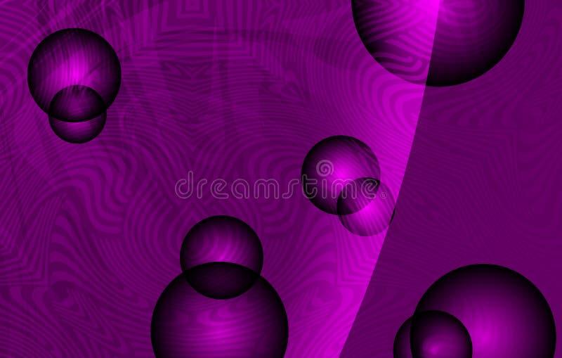 Vector le onde fumose astratte con le strutture, le capsule 3d ed il fondo protetto viola, illustrazione di vettore illustrazione vettoriale