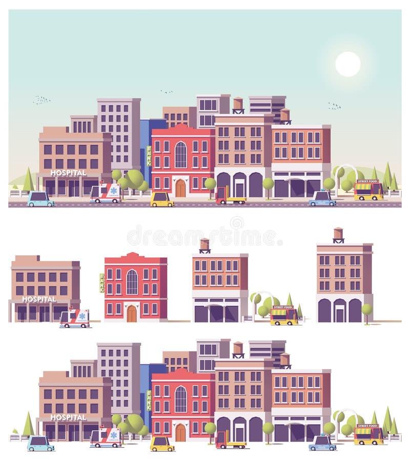 Vector le poli 2d costruzioni basse e la scena della città illustrazione di stock