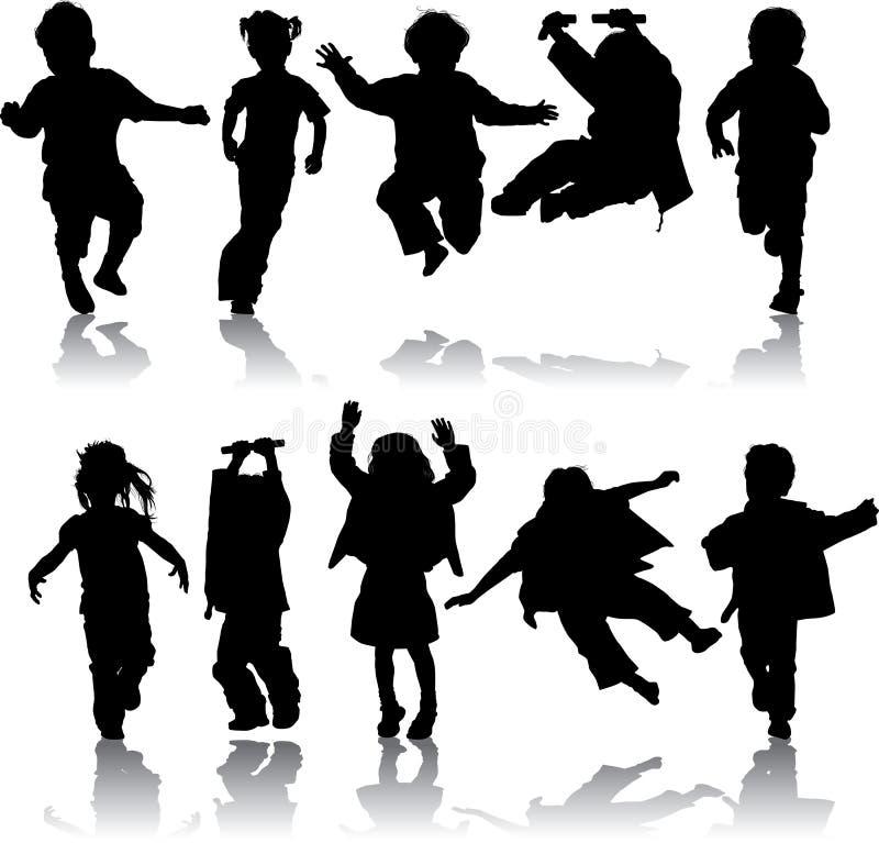 Vector le ragazze ed i ragazzi della siluetta illustrazione di stock