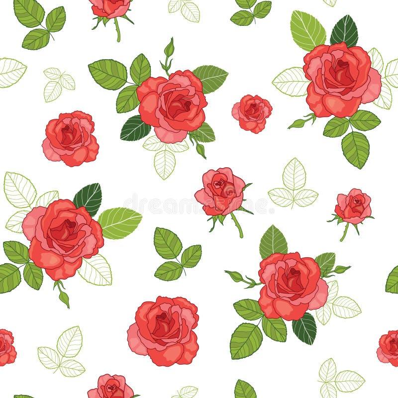 Vector le rose rosse d'annata e le foglie verdi sul modello senza cuciture di ripetizione del fondo bianco Grande per retro tessu illustrazione di stock