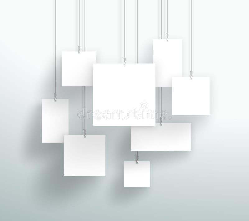 Vector le scatole quadrate bianche in bianco 3d che appendono la progettazione illustrazione di stock