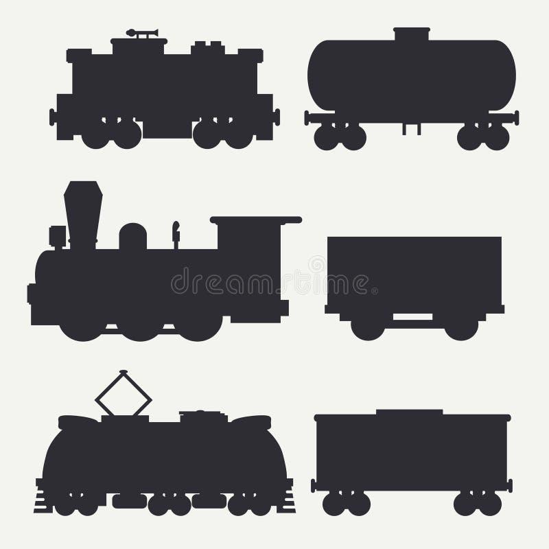 Vector le siluette dell'annata e moderne dei treni messe con i vagoni ed il carro armato del carico Locomotive diesel ed elettric royalty illustrazione gratis