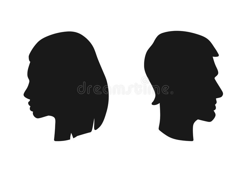 Vector le teste isolate della donna e dell'uomo nel profilo Icona della siluetta dei fronti maschii e femminili illustrazione di stock