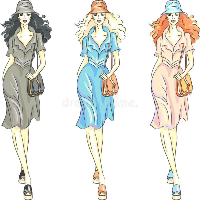 Vector le top model delle ragazze di modo in vestiti e cappello royalty illustrazione gratis
