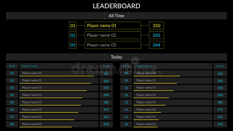 Vector Leader board. On black background. For all time and today places. Vector set stock illustration