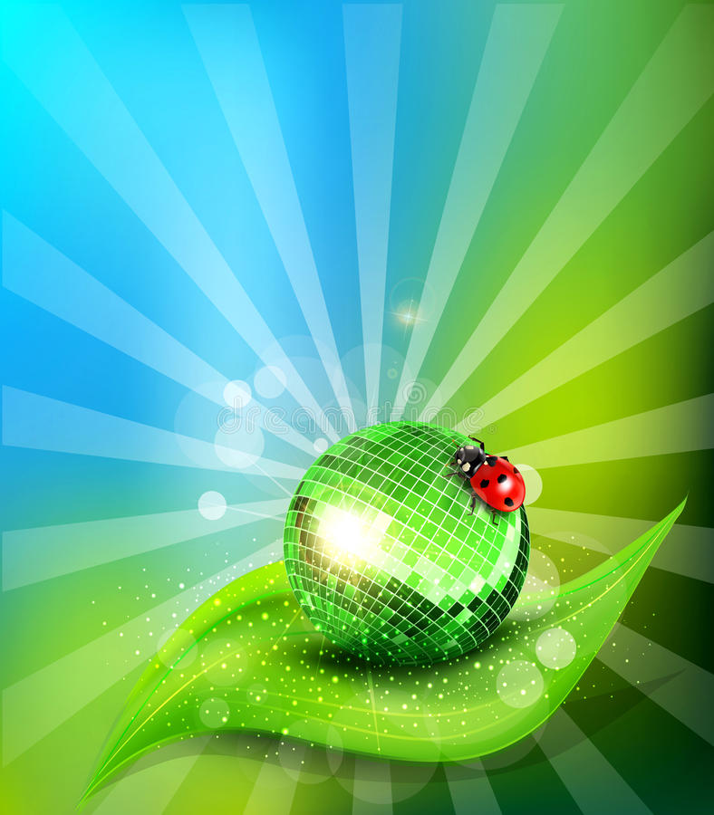 Vector leaf, mirrored disco ball and a ladybug stock illustration