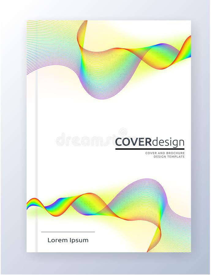 Annual Brochure Vector Leaflet Flyer template A4 size design, annual report book cover layout design, Abstract rainbow template stock illustration
