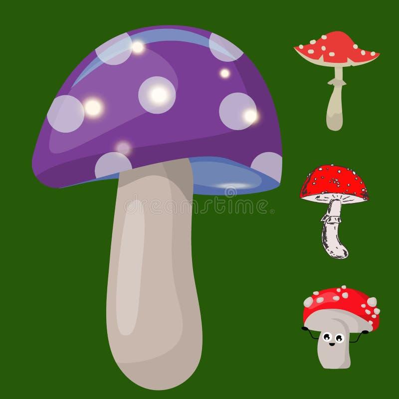 Vector Lebensmittelillustration der gefährlichen Jahreszeit des Satzes der Wulstlingspilze giftige pilzartige giftigen lizenzfreie abbildung