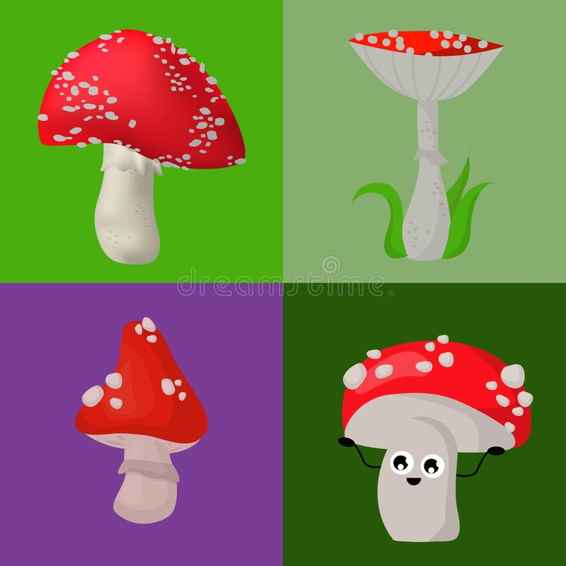 Vector Lebensmittelillustration der gefährlichen Jahreszeit des Satzes der Wulstlingspilze giftige pilzartige giftigen vektor abbildung