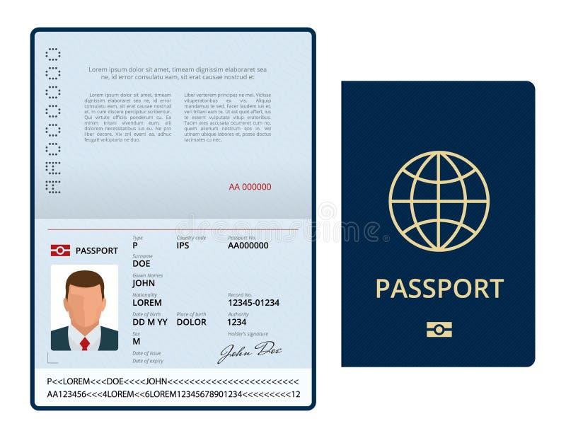 Vector Leeg open paspoortmalplaatje Internationaal paspoort met de pagina van steekproef persoonsgegevens Document voor reis en royalty-vrije illustratie