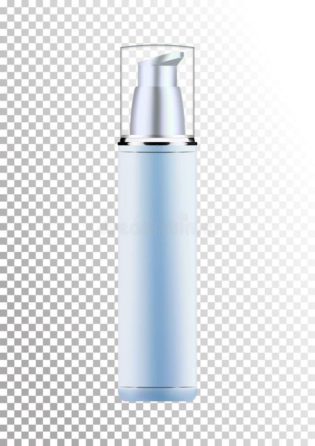 Vector leeg zilveren en blauw pakket voor cosmetischee producten met pomp, buis voor lotion, tonicum, room Realistisch model van stock illustratie